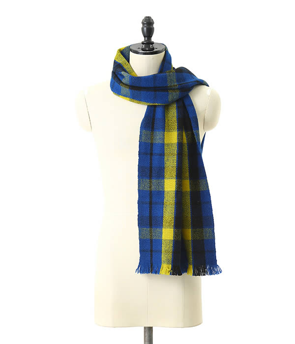 【サマーキャンペーン!】denis colomb / デニスコロン : Gobi Plaid Scarf-Altai Blue + Sunflower Yellow + Black- : ストール ショール マフラー : Gobi-Plaid-Scarf-BLU【RIP】