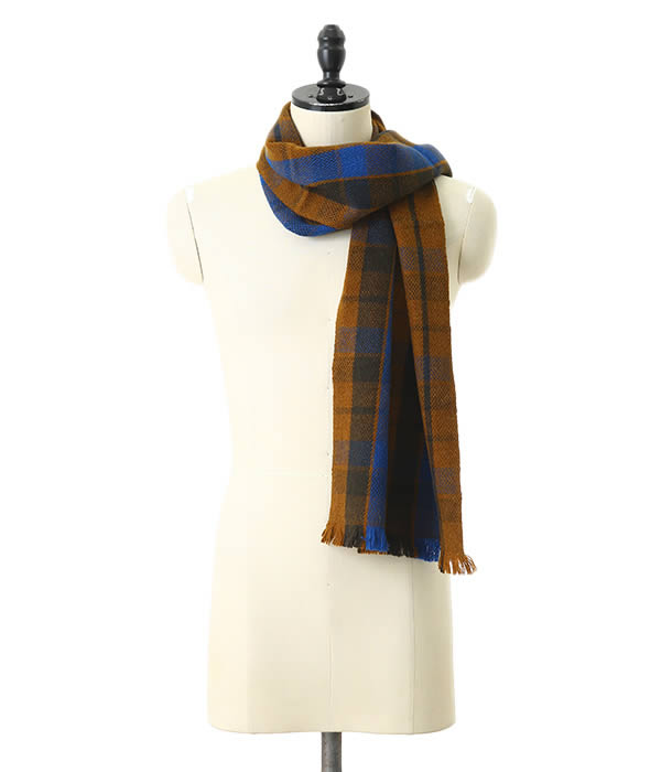 denis colomb / デニスコロン : Gobi Plaid Scarf-Golden Brown + Earth Green + Altai Blue- : ストール ショール マフラー : Gobi-Plaid-Scarf-BRW【RIP】