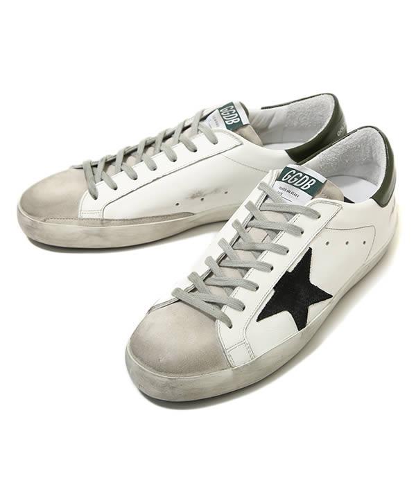 GOLDEN GOOSE / ゴールデングース : SNEAKERS SUPERSTAR-WHITE-BLACK-GREEN- : ゴールデングース スニーカー 靴 レザー 本革 ヴィンテージ加工 フランシー メンズ : G33MS590-L31【RIP】