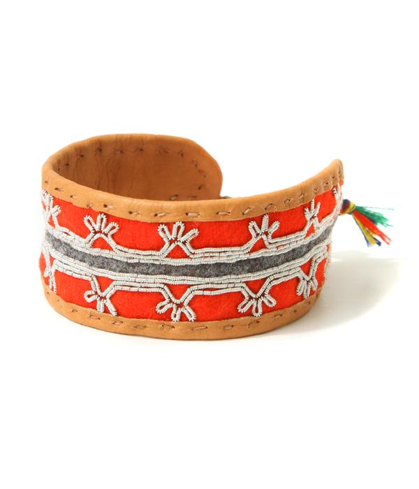 MARIA RUDMAN / マリアルドマン : Medium Handmade pewterembroidered AUthentic Sami Bracelet -RED- : メンズ レディース オーセンティック ブレスレット ギフト プレゼント ラッピング可能 : SAMI-M-RED【RIP】