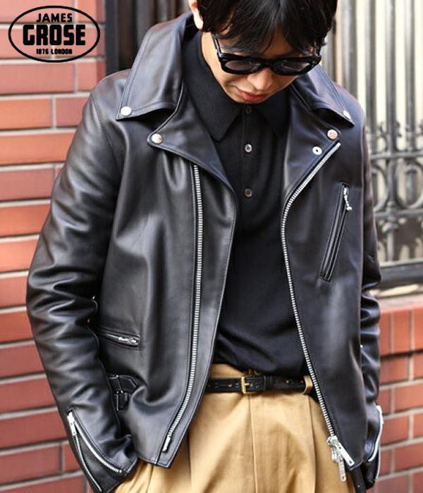 【サマーキャンペーン!】JAMES GROSE / ジェームス グロース : MEN'S GEORGIAN JACKET -Cow Leather- : ライダース レザージャケット 本革 ジョージア : JG-G36【MUS】