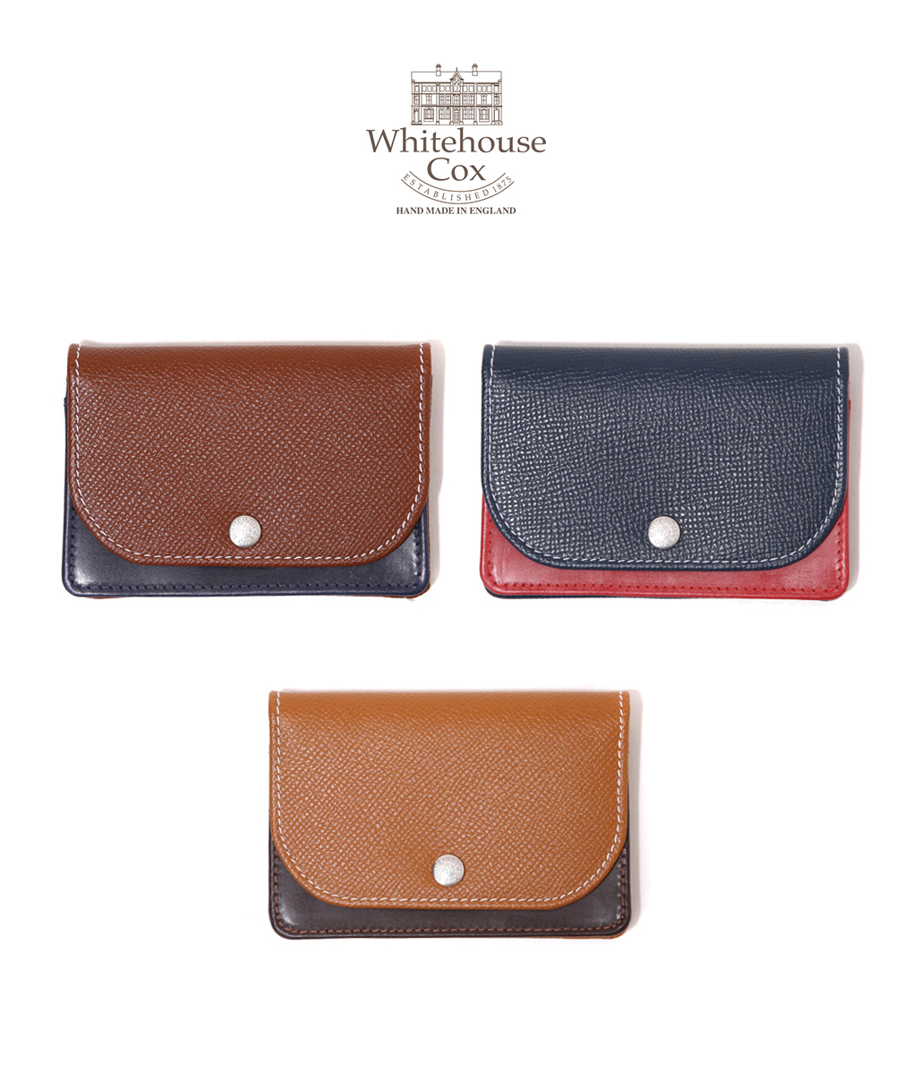 Whitehouse Cox / ホワイトハウスコックス : 【LONDON CALF×BRIDLE LEATHER COLLECTION】NAMECARD CASE with GUSSET / 全3色 : ネームカードケース 名刺入れ レザー ギフトラッピング可能 : S-1751-LONDONCALF-BLC【MUS】