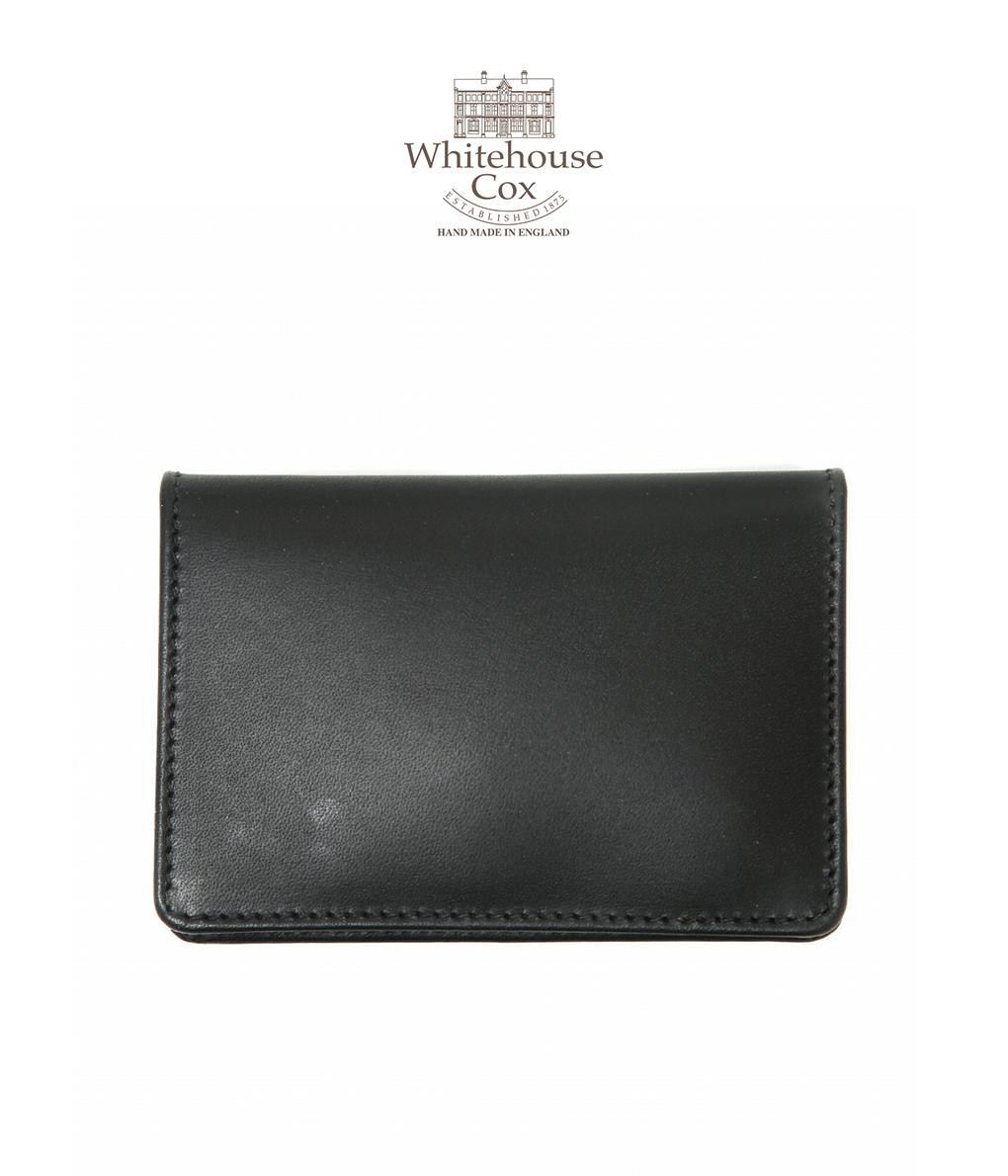 Whitehouse Cox / ホワイトハウスコックス : NAME CARD CASE-ブラック/タン : カード入れ ケース 名刺入れ レザー ビジネス ダービーコレクション メンズ : S-7412-DERBY-BLK-TAN【MUS】
