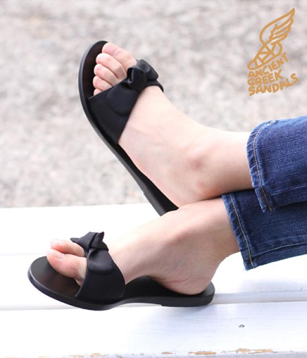 Ancient Greek Sandals / エンシェントグリークサンダルズ : ALKI-BLACK- (23~25.5cm) : アルキ レザー フラット サンダル レディース : ALKI-BLK 【ANN】