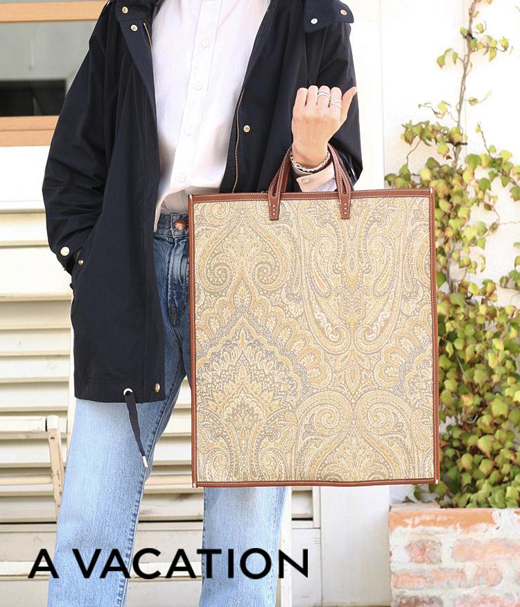 A VACATION / ア ヴァケーション : FAN-PAISLEY YELLOW- : ファン トートバッグ 2way インテリアファブリック ハンドル レディース : AV-8187-YLW 【ANN】