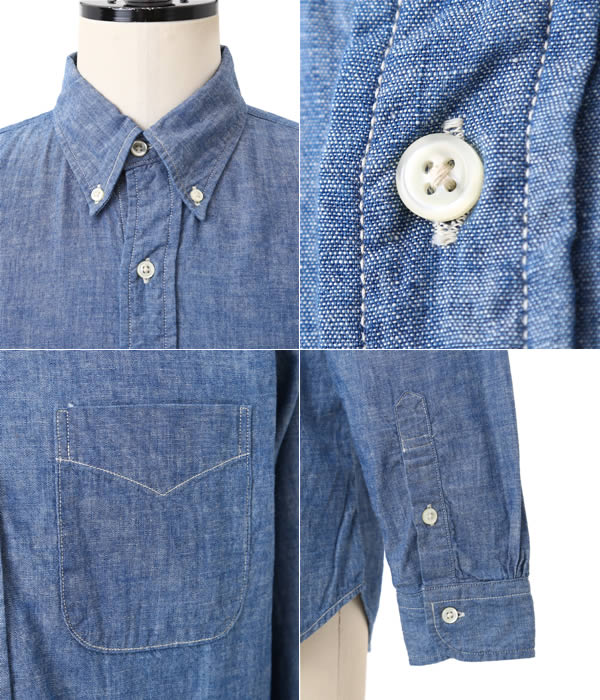 orslow B.D SHIRTS CHAMBRAY (2 YEAR WASH) ( BD shirt BUTTONDOWN chambray ) 8012-84