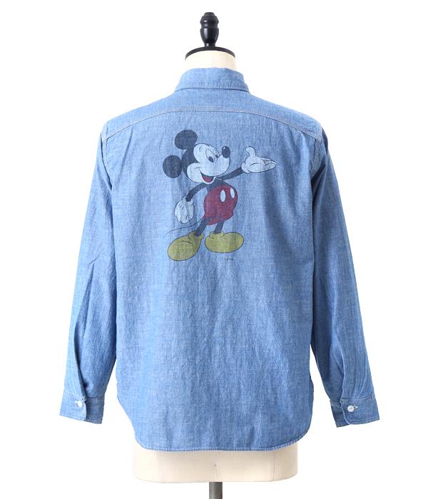 【SPECIAL PRICE!】BIG YANK / ビッグヤンク : MICKEY MOUSE ON 1966 : シャツ ミッキーマウス インディゴ : 560-521-01 【STD】
