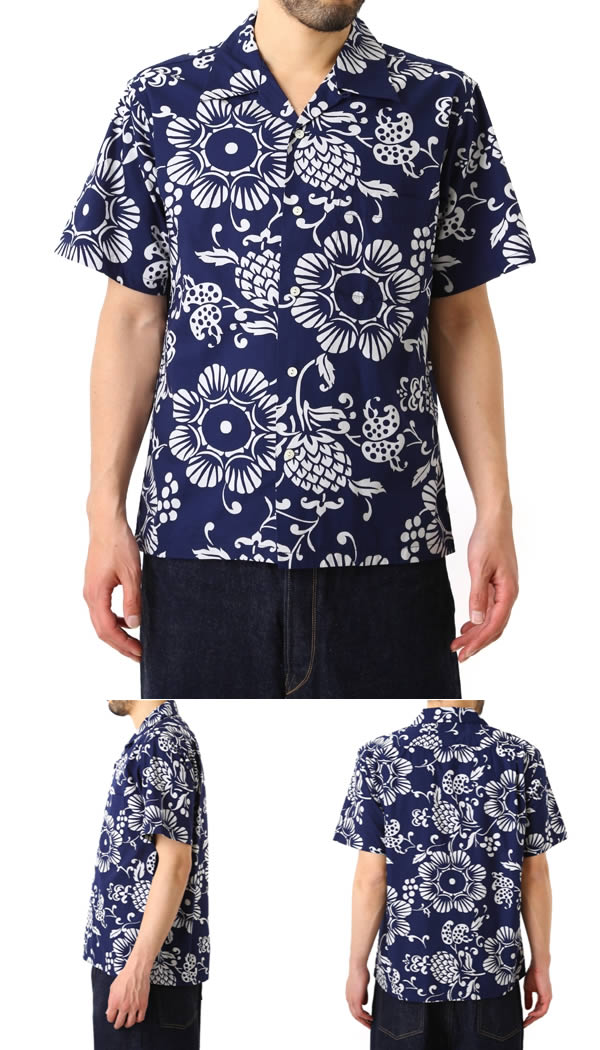 DUKE KAHANAMOKU (Duke kahanamoku) / PINEAPPLE PAREAU HAWAIIAN SHIRT (Hawaiian Aloha shirt short-sleeved t-shirt) DK36470-NAV