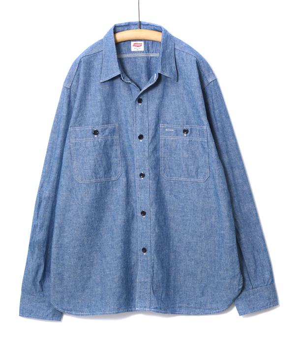 FLAG SPORT / フラッグスポーツ : Chambray shirt : WAREHOUSE ウエアハウス ウェアハウス メンズ シャンブレーシャツ ワークシャツ オーバーサイズ ビッグシルエット インディゴ : FS3001【STD】
