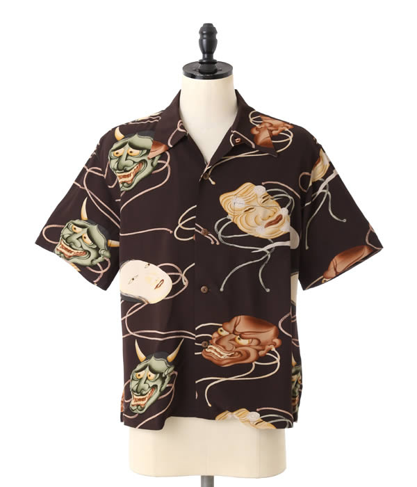 SUN SURF (산 파도타기)/Noh Mask-SS36653-(デユークカハナモク 동양 엔터프라이즈 알로하 셔츠 알로하 하와이 셔츠 반 소매 셔츠 開襟 ALOHA SP)