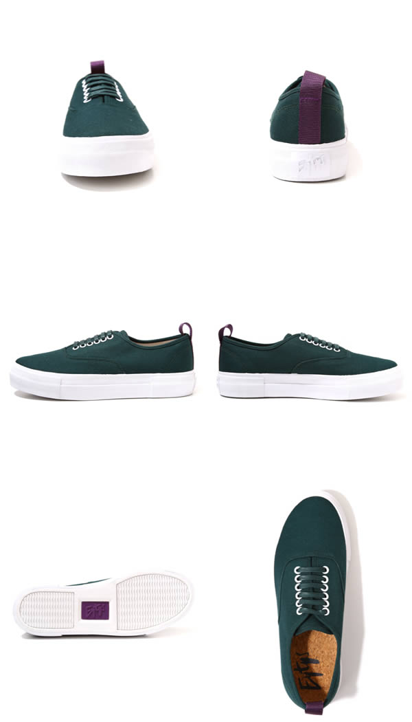EYTYS (eighties) LO CUT DECK SHOES-BOTTLE GREEN-( thick bottom rubber sole canvas) MOTHER-CANVAS-B-GRN