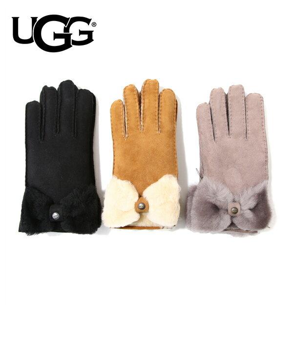 UGG / アグ : 【レディース】CLASSIC BOW SHORTY GLOVE / 全3色 : 手袋 グローブ シープスキン ムートン : U1469BX【DEA】