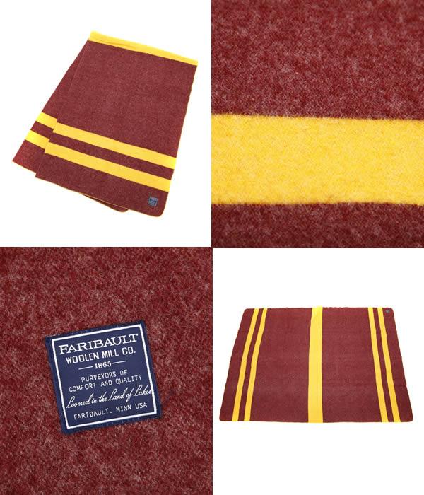 Faribault Woolen Mills(大音阶第四音再波罗的乌莱恩米尔)/Military Maroon w/Gold Stripe Twin Sergid(围裙羊毛毯垫子)2067