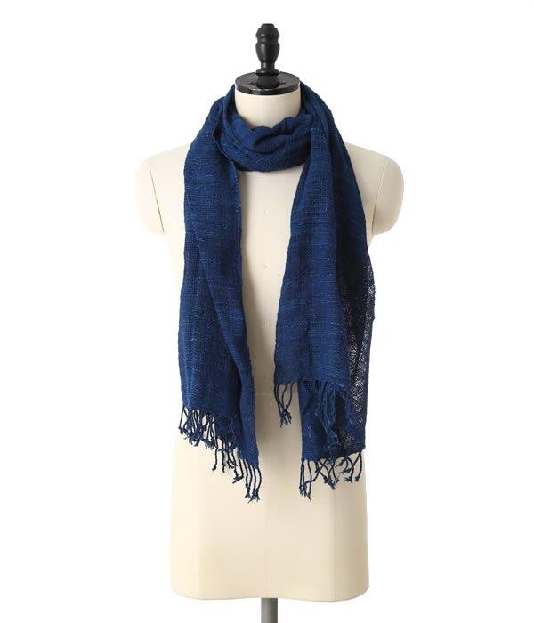 Hatha krama [hataklama] / HK1 Loose weave indigo (scarf scarf Indigo-dyed Indigo)