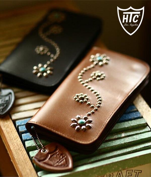 af5943c61eda HTC(エイチティーシー)/TurquoiseStudsFlowerLONGWALLET/全3色(ラウンドロングウォレット