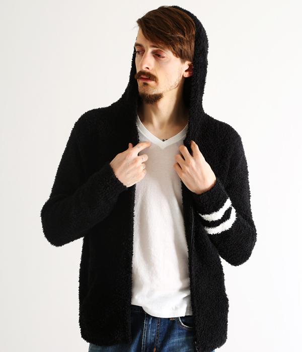 BAREFOOT DREAMS / ベアフット ドリームス : 【男性サイズ】 mens zip hoodie with stripe : メンズ フーディ パーカー ストライプ : C594black【PIE】