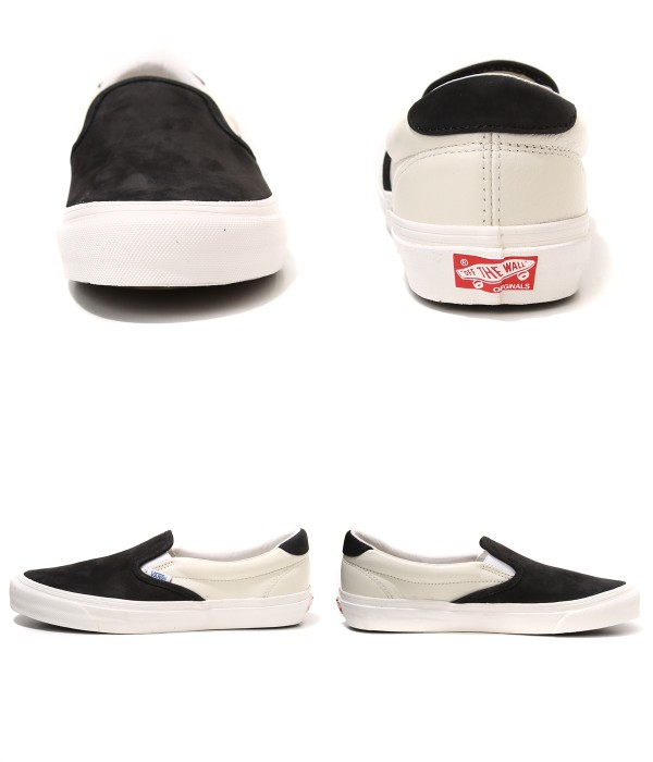 VANS VAULT [빵 볼트]/OG SLIP-ON 59 LX (PREMIUM LEATHER) BLACK/MARSHMALLOW (운동 화 슬립 신발 슈즈) VN-019VGKN