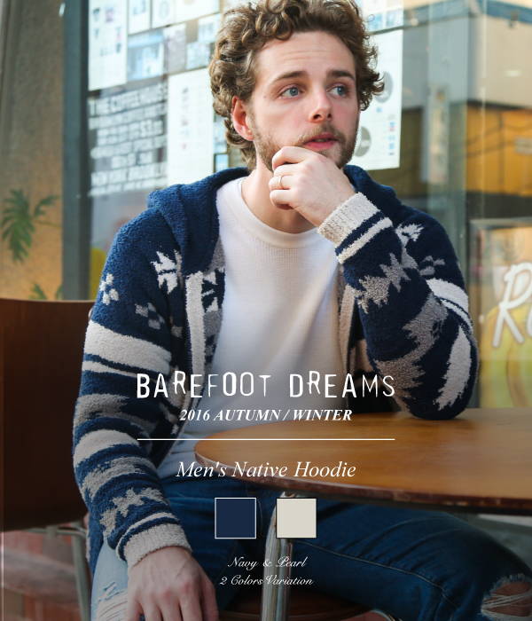 BAREFOOT DREAMS / ベアフット ドリームス : Men's Native Hoodie / 全2色 : メンズネイティブフーディー パーカ オーシャンズ ロンハーマン : BFD-SZ16M-001【BJB】