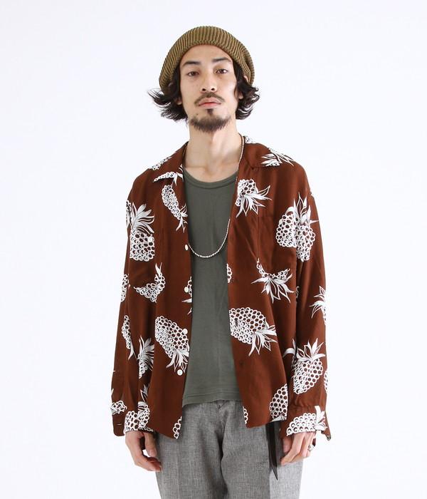 marka / マーカ : OPEN COLLAR SHIRTS L/S - ALOHA -ブラウン : オープンカラーシャツ アロハシャツ レーヨンシャツ : M18A-09SH01C-BRW【COR】【WIS】
