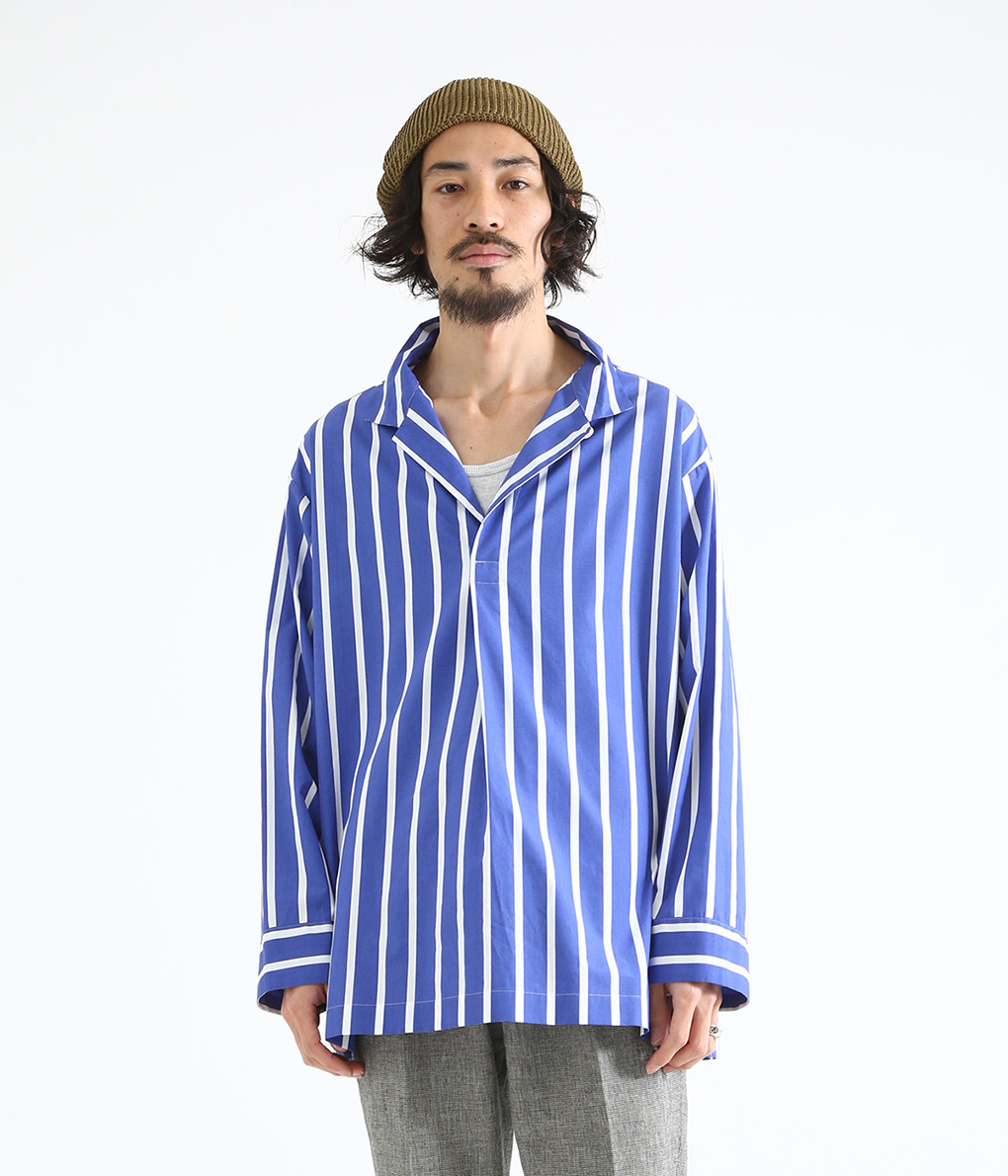 marka / マーカ : SKIPPER SHIRTS - stripe - / 全2色 : スキッパーシャツ スキッパー ロングスリーブ シャツ メンズ : M19A-07SH02C 【COR】
