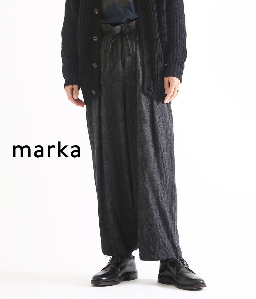 marka / マーカ : TUCK WIDE PANTS - co/w twill - /全2色 : タック ワイド パンツ ワイドパンツ チェック メンズ : M19D-02PT01C 【COR】【WIS】