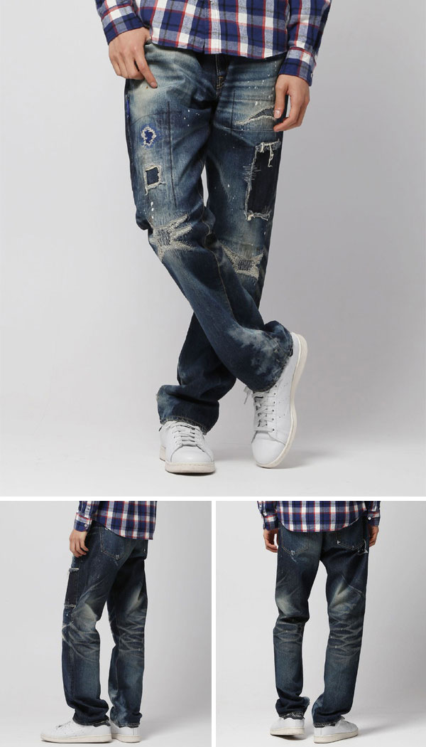 DENIM BY VANQUISH & FRAGMENT the denim by vanquish fragment / five years wash wide straight denim pants (5 year wash stretch denim pants) VFP1059-wise