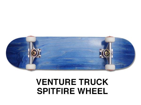 【スケボー/スケートボード/完成品】【送料無料】ブランク BLUE(ブルー)7.75インチ/VENTURE TRUCK/SPITFIRE WHEEL/コンプリートセットB