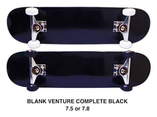 【スケボー/スケートボード/完成品】【送料無料】VENTUREトラック付きコンプリートセット ブラック / 7.5 or 7.8