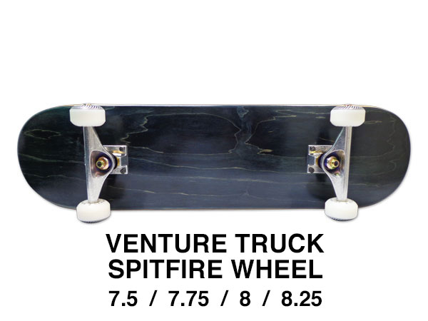 【スケボー/スケートボード/完成品】【送料無料】ブランク BLACK(ブラック)7.5 or 7.75 or 8 or 8.25インチ/VENTURE TRUCK/SPITFIRE WHEEL/コンプリートセットB