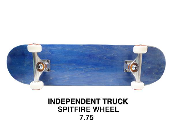 【スケボー/スケートボード/完成品】【送料無料】ブランク BLUE(ブルー) 7.75インチ/INDEPENDENT TRUCK/SPITFIRE WHEEL/コンプリートセットC