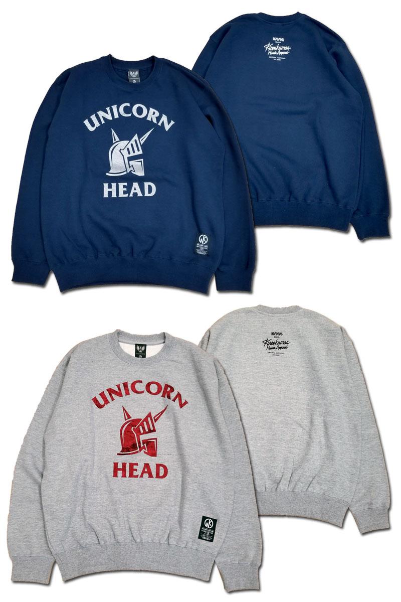 d15b5570c32 KMA unicorn head crew neck sweat shirt  crash velour    arc Tees comment   MUSCLE APPAREL