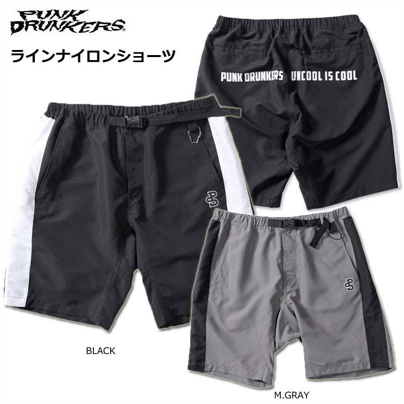 【SALE】PUNK DRUNKERS(パンクドランカーズ)/ラインナイロンショーツ