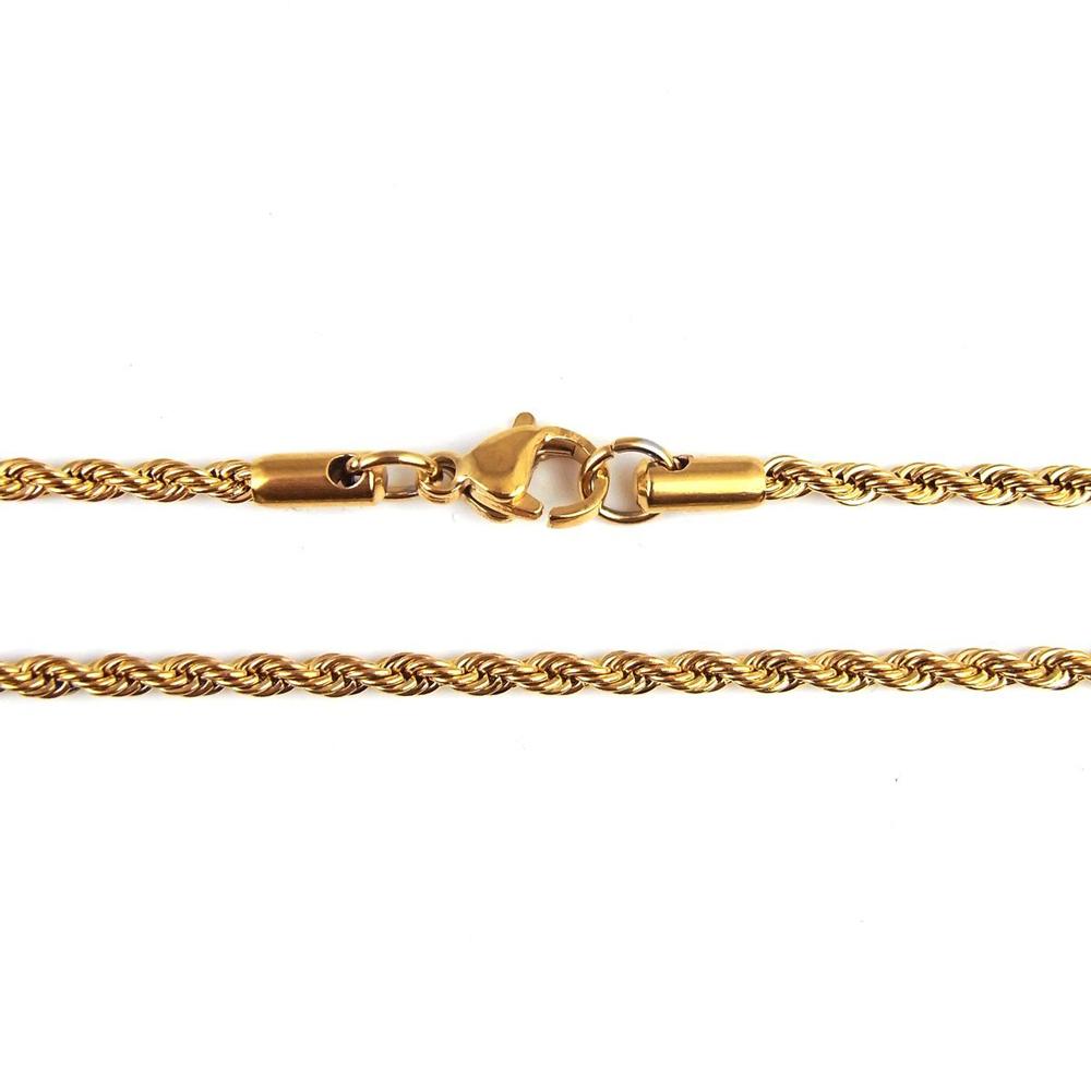 ネックレス チェーン ツイスト メンズ ゴールド シルバー 金 銀 K18 18金 コーティング ステンレス 細い 細め 幅 2mm 4mm 長さ 45cm 50cm 55cm 60cm チェーンネックレス ブランド