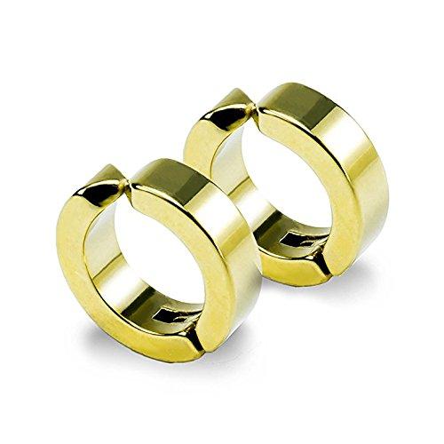 イヤーカフ ピアス イヤリング 穴なし フェイク リング フープ メンズ レディース ゴールド シルバー ブラック 金 銀 黒 外径13mm 内径9mm 幅4mm 両耳 セット 金属アレルギー対応 ステンレス シンプル わっか はさむ 安い 小さい