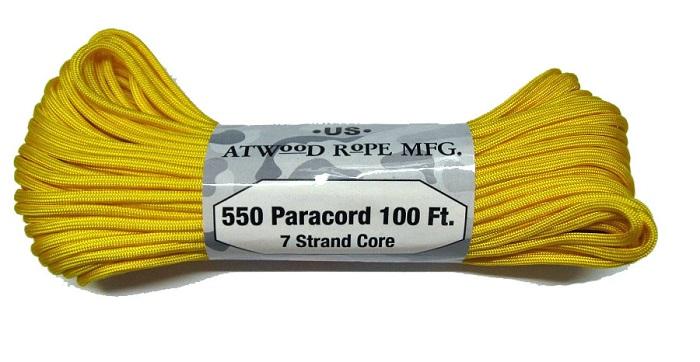 丈夫 高品質 1コまでメール便 2コまで小型 限定価格セール 4コまで大型宅配配送可 授与 買うほどお得価格 アトウッド ロープ ATWOOD 耐加重250Kg ROPE 30M キャンプなどに MFG イエロー 7Strand パラシュートコード パラコード