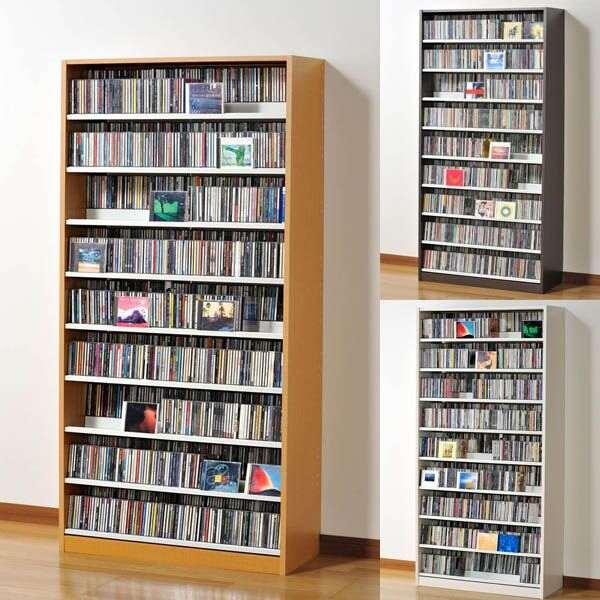 ラック 棚 ラック CD収納 シェルフ タンデムCDストッカー CDラック 大容量 dvd収納 TCS890 ナチュラル/ウォルナットダーク/ホワイト 大量収納 デザイン CD dvd dvdラック 1000枚以上 壁面収納 おしゃれ