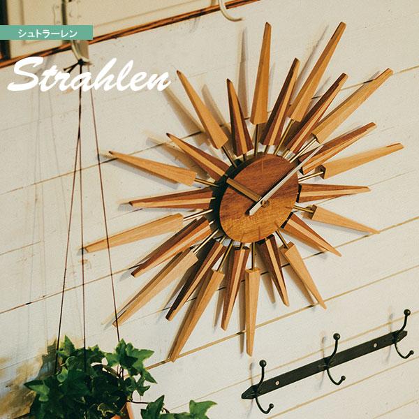 掛け時計 時計 ウォールクロック 壁掛け スイープムーブメント アナログ時計 インテリア おしゃれ 北欧 ミッドセンチュリー 木製 ウッド 太陽