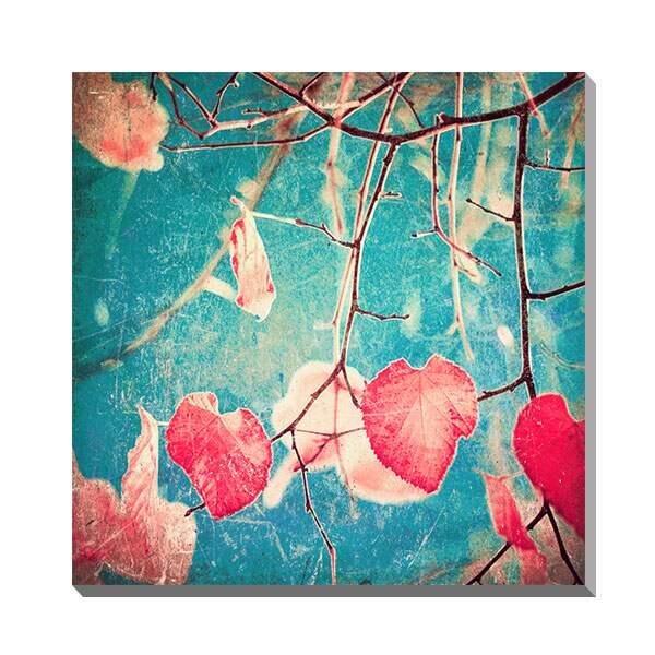 ポスター パネル アートパネル キャンバス おしゃれ カフェ アートポスター 北欧 インテリア 玄関 ファブリックパネル 壁掛け インテリア雑貨 ディスプレイ 店舗 モダン フレーム 壁 木 Andrekart Photography Autumn Pink Heart Leafs on blue textured sky