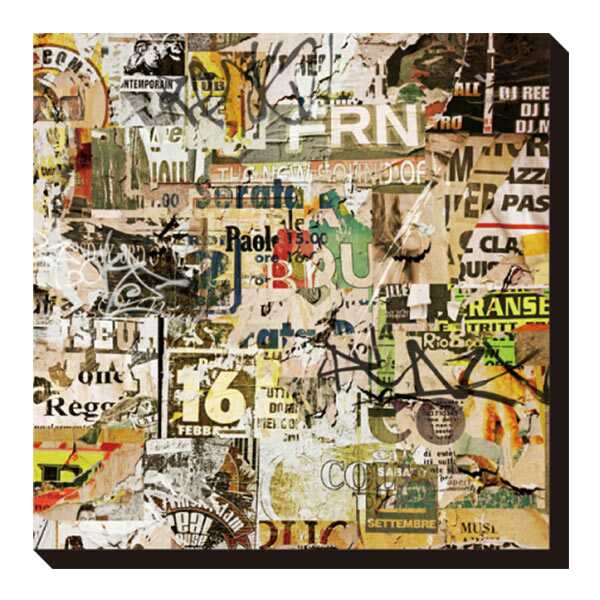 ポスター パネル 壁掛け アートパネル キャンバス アートポスター インテリア 玄関 プレゼント レトロ ギフト 贈り物 おしゃれ 英字 海外 正方形 文字 数字 コラージュ 広告 IAP-52115 Art Panel Binkski Grunge Background with Old Torn Posters