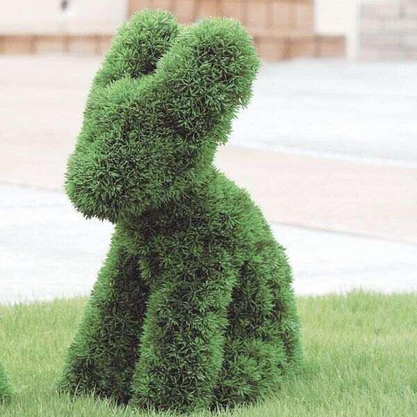 人工観葉植物 インテリアグリーン 動物型 アニマル オブジェ 人工植物 観葉植物 オブジェ フェイクグリーン フェイク グリーン インテリア 植物 うさぎモチーフ ガーデン トピアリー オフィス アートグリーン ラビット 高さ53cm 庭 オーナメント