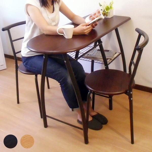 棚 カウンターテーブル バーカウンター 食卓テーブル カフェ テーブル ハイテーブル デスク バーテーブル 3点セット チェア2脚 ナチュラル 110cm 机 おしゃれ 棚付き バーカウンターテーブル 収納 DTS110 ダイニングテーブルセット/ブラウン 一人暮らし 家具