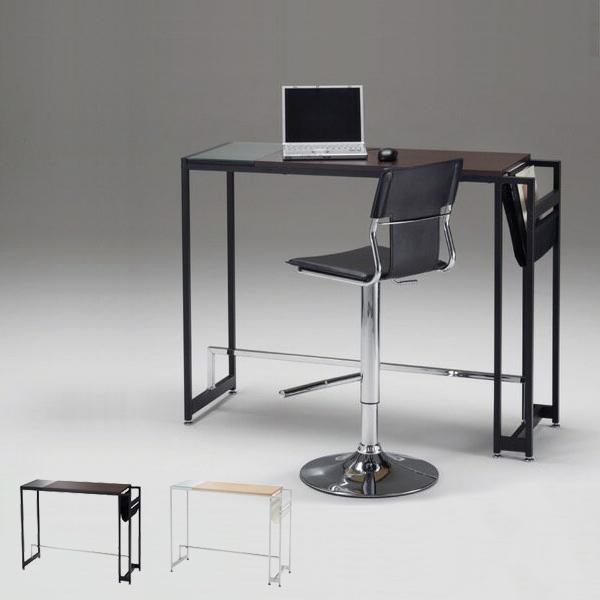 ガラス バーカウンター カウンターテーブルハイテーブル 北欧 モダン バーテーブル カフェ テーブル 約高さ90cm 高さ87cm バーカウンターテーブル 幅115cm BLIT AT-735CT ブラウン/ナチュラル バー 薄型 ハンプラック付き 家具 机 デスク おしゃれ スリム