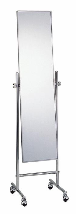 キャスター付きミラー スタンドミラー 全身鏡 ミラー キャスター 鏡 キャスター付き 幅42cm かがみ 全身 姿見 おしゃれ シンプル スタイルミラー スリム スタイリッシュ スチール ステンレス ファッションミラー 雑貨 細長 美容室 レトロ