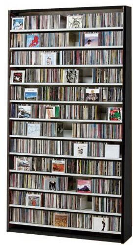CDラック DVDラック CD 大容量 cd収納 棚 DVD ラック CD収納棚 収納 おしゃれ CD収納ラック 大型 DVD収納ラック 大量収納 CDストッカー DVDストッカー 薄型 スリム 大量 壁面 壁面収納 シンプル オークス ダークブラウン 幅100cm 【CD1284枚】【DVD560枚】
