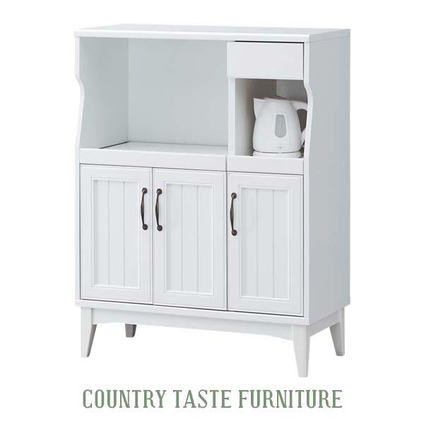 キッチンカウンター 姫 ホワイト 食器棚 レンジ台 収納ラック コンセント付き フレンチカントリー アンティーク 家具 扉付き収納 一人暮らし