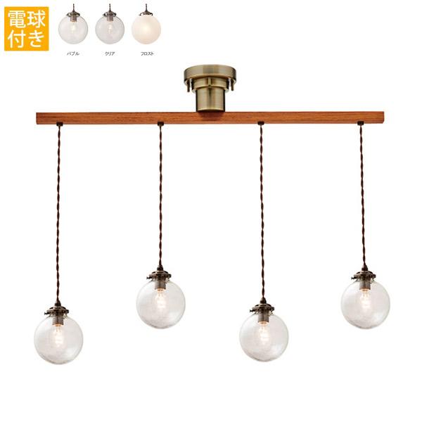 洋風ペンダントライト Orelia LED対応 4灯 電球あり 天井照明 アンティーク オレリア ダングル4 レトロ シンプル モダン 気泡ガラス ペンダントランプ インテリア