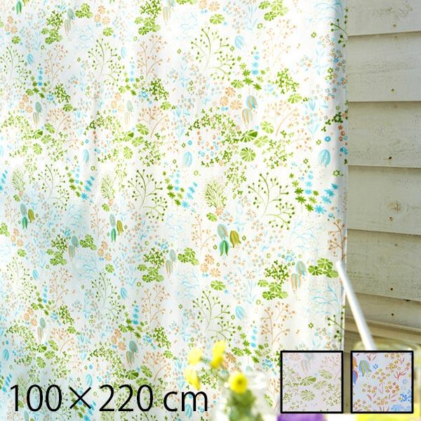 カーテン 既製カーテン 幅100 タッセル付き 花柄 北欧 女の子 2枚入り 2枚 日本製 綿100 Clara 100×220cm 子供部屋 アジャスターフック キッズ おしゃれ デザイン 可愛い グリーン オレンジ ドレープカーテン 植物 フラワー 柄 既製サイズ かわいい 既成カーテン