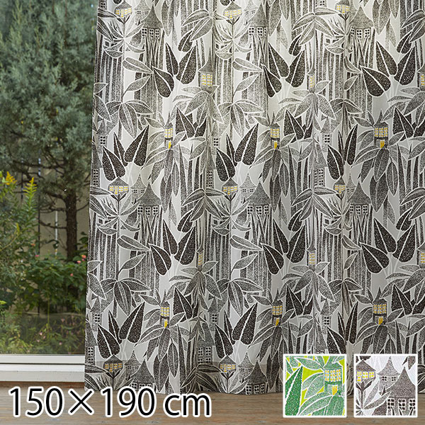 カーテン ムーミン 北欧 柄 かわいい 子供部屋 既成カーテン 150×190 旅の途中 グリーン/ブラック 2枚入り