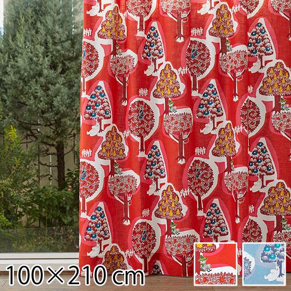 カーテン ムーミン 北欧 柄 かわいい 子供部屋 既成カーテン 100×210 森のいろいろ レッド/ブルー 2枚入り