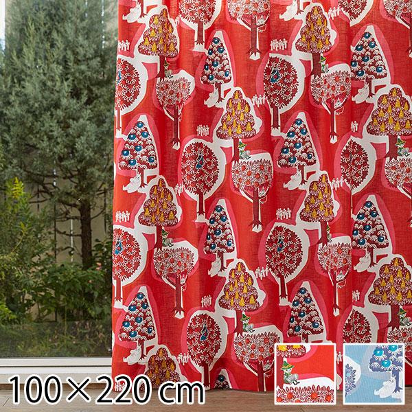 カーテン ムーミン 北欧 柄 かわいい 子供部屋 既成カーテン 100×220 森のいろいろ レッド/ブルー 2枚入り